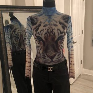 Tops - Animal print mesh body suite Sheer gorgeous!